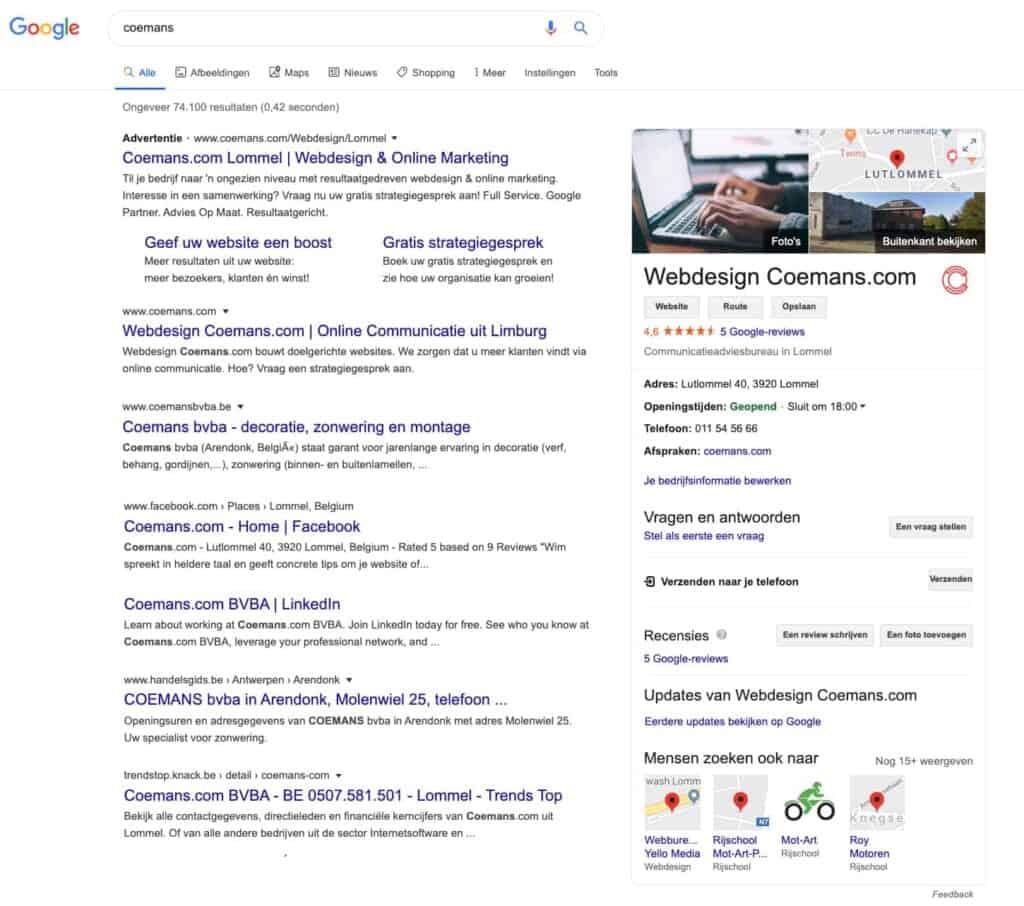 Nieuwe weergave zoekresultaten Coemans