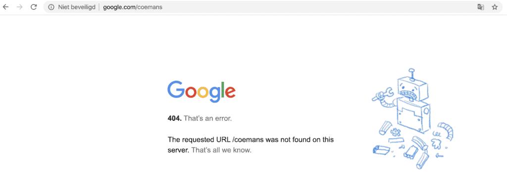 google 404 error
