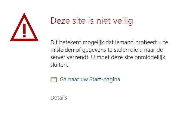 melding onveilige website