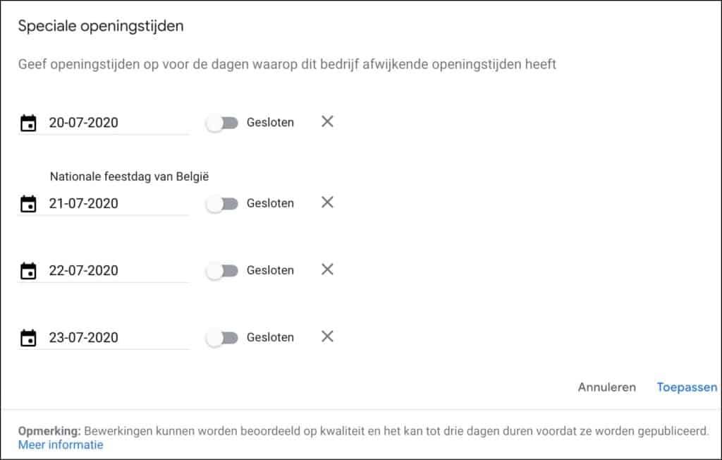 Printscreen Google Mijn Bedrijf openingstijden