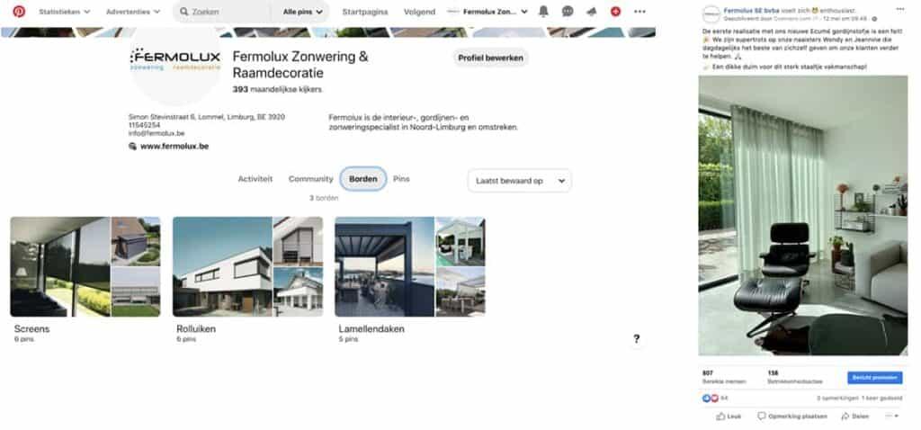 Facebook en Pinterest van Fermolux